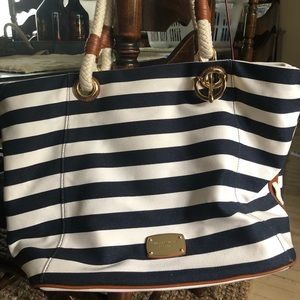 MICHAEL Kors Nautical Blue Striped Tote like NEW